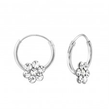 Flower - 925 Sterling Silver Children Hoops A4S29435