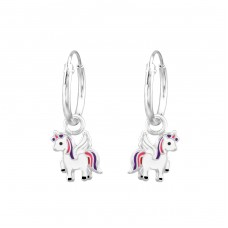 Unicorn - 925 Sterling Silver Children Hoops A4S31148