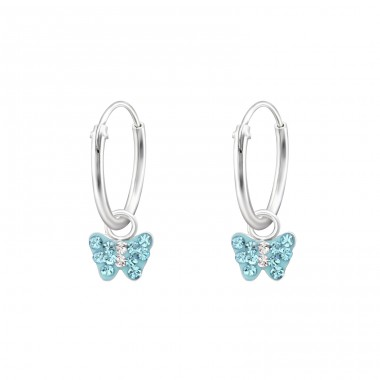 Butterfly - 925 Sterling Silver Earrings And Ear Hoops A4S31186