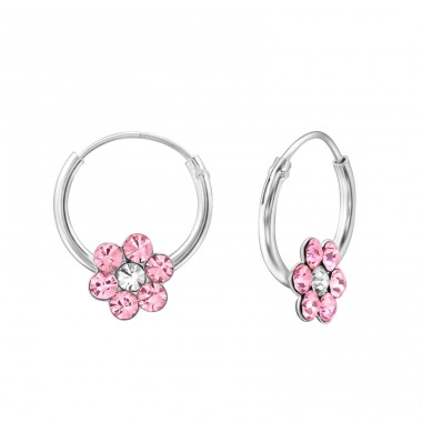 Flower - 925 Sterling Silver Children Hoops A4S31257