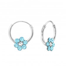 Flower - 925 Sterling Silver Children Hoops A4S31258