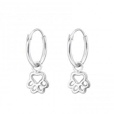 Paw Print - 925 Sterling Silver Children Hoops A4S31270