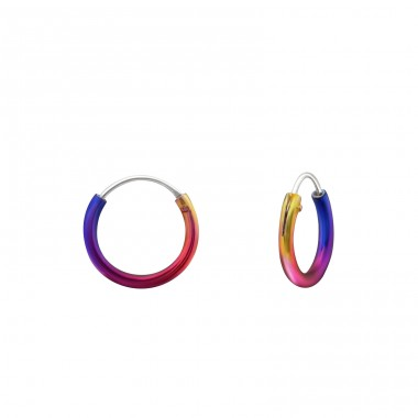Rainbow 10mm - 925 Sterling Silver Children Hoops A4S31425