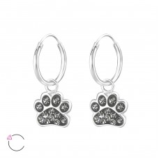 Paw Print - 925 Sterling Silver Children Hoops A4S32872