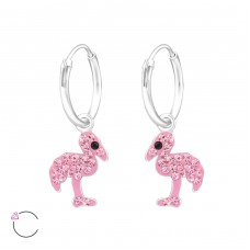 Flamingo - 925 Sterling Silver Children Hoops A4S32874