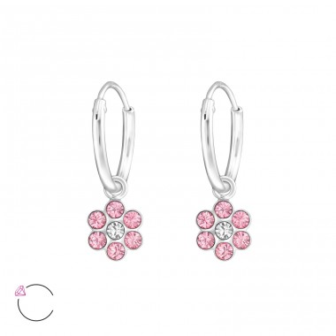 Flower - 925 Sterling Silver Children Hoops A4S32875