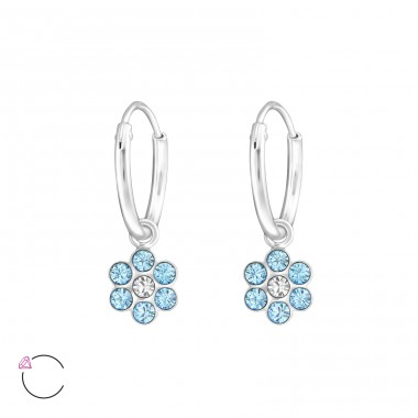 Flower - 925 Sterling Silver Children Hoops A4S32876