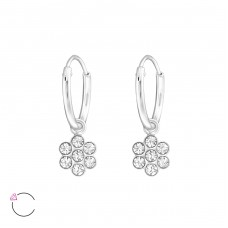 Flower - 925 Sterling Silver Children Hoops A4S32877
