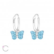Butterfly - 925 Sterling Silver Children Hoops A4S32881