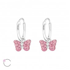 Butterfly - 925 Sterling Silver Children Hoops A4S32882