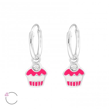 Cupcake - 925 Sterling Silver Children Hoops A4S32884
