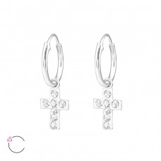 Cross - 925 Sterling Silver Children Hoops A4S32885