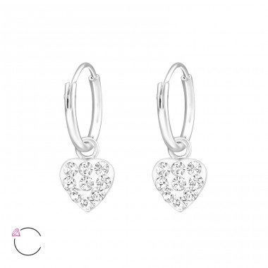 Heart - 925 Sterling Silver Children Hoops A4S32887