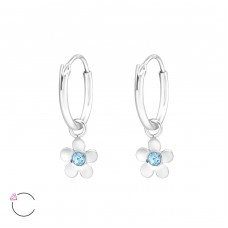 Flower - 925 Sterling Silver Children Hoops A4S32888