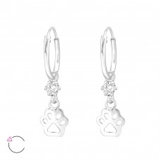 Paw Print - 925 Sterling Silver Children Hoops A4S32889