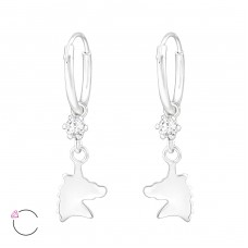 Unicorn - 925 Sterling Silver Children Hoops A4S32890