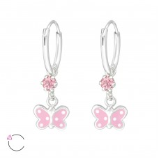 Hanging Butterfly - 925 Sterling Silver Children Hoops A4S32894
