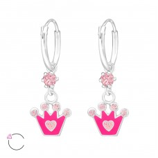 Crown - 925 Sterling Silver Children Hoops A4S32895