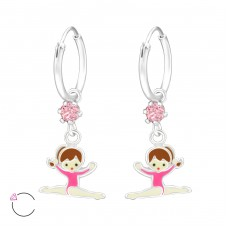 Gymnas - 925 Sterling Silver Children Hoops A4S32896