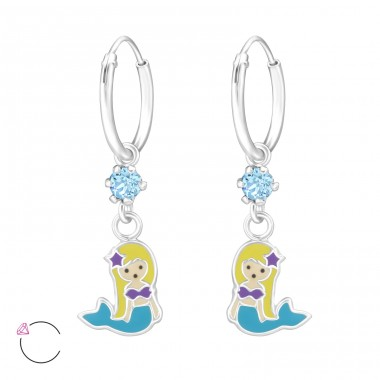 Mermaid - 925 Sterling Silver Children Hoops A4S32897
