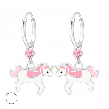 Unicorn - 925 Sterling Silver Children Hoops A4S32898