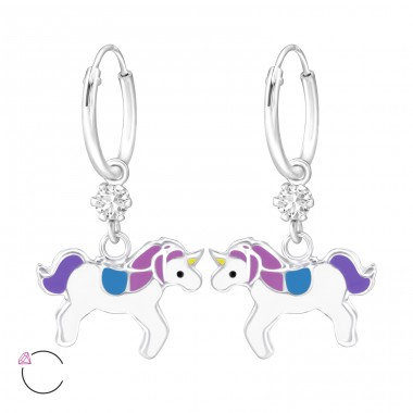 Unicorn - 925 Sterling Silver Children Hoops A4S32899