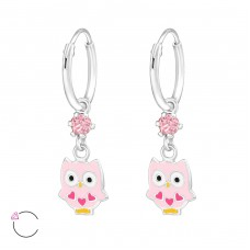 Owl - 925 Sterling Silver Children Hoops A4S32900