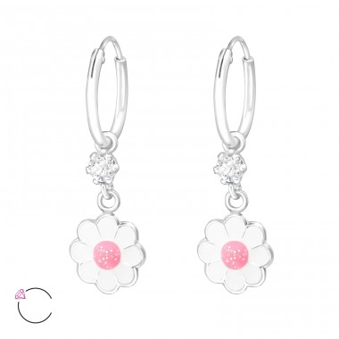 Hanging Flower - 925 Sterling Silver Children Hoops A4S32901