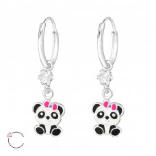 Hanging Panda - 925 Sterling Silver Children Hoops A4S32904