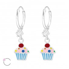 Cupcake - 925 Sterling Silver Children Hoops A4S32905