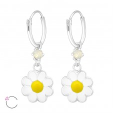 Flower - 925 Sterling Silver Children Hoops A4S32906