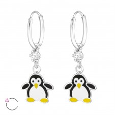 Penguin - 925 Sterling Silver Children Hoops A4S32908