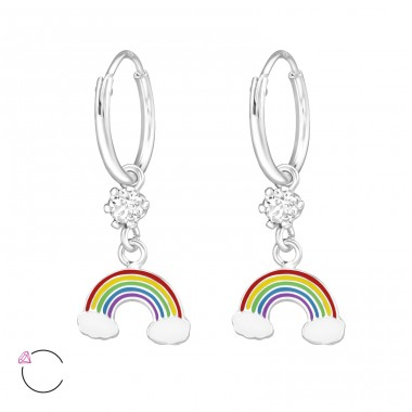 Rainbow - 925 Sterling Silver Children Hoops A4S32909