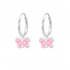 Butterfly - 925 Sterling Silver Children Hoops A4S33952