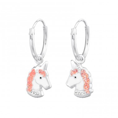 Unicorn - 925 Sterling Silver Children Hoops A4S34042