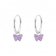 Butterfly - 925 Sterling Silver Children Hoops A4S34047
