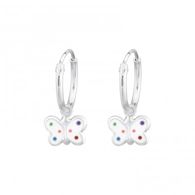Butterfly - 925 Sterling Silver Children Hoops A4S34619