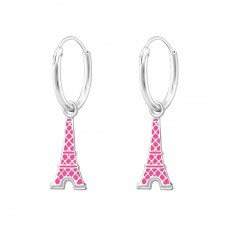 Hanging Eiffel Tower - 925 Sterling Silver Children Hoops A4S35544