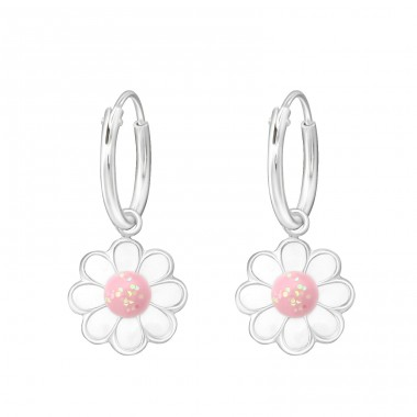 Hanging Flower - 925 Sterling Silver Children Hoops A4S35611
