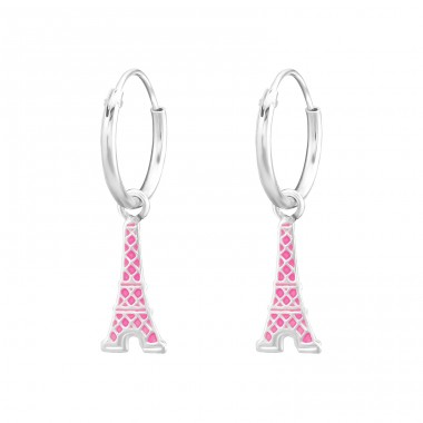 Hanging Eiffel Tower - 925 Sterling Silver Hoops A4S36481