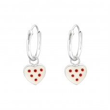 Hanging Heart - 925 Sterling Silver Hoops A4S36547