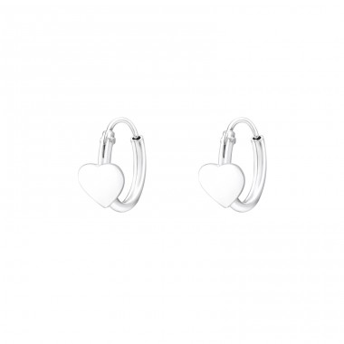 Heart - 925 Sterling Silver Hoops A4S36655