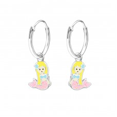 Hanging Mermaid - 925 Sterling Silver Children Hoops A4S36980