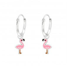 Flamingo - 925 Sterling Silver Children Hoops A4S36981