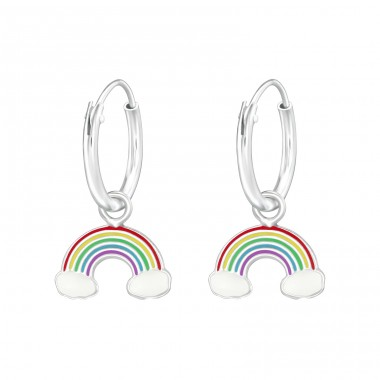 Hanging Rainbow - 925 Sterling Silver Children Hoops A4S36982