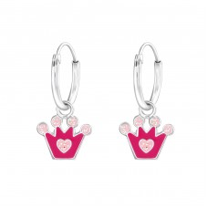 Hanging Crown - 925 Sterling Silver Children Hoops A4S36983