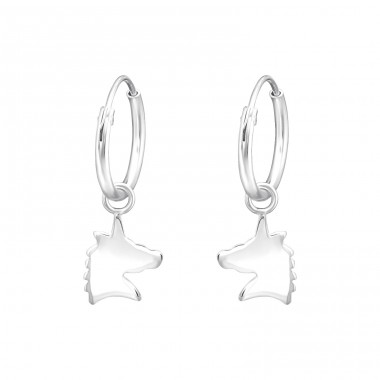 Hanging Unicorn - 925 Sterling Silver Children Hoops A4S36984