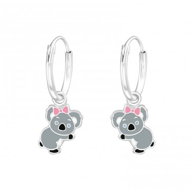 Hanging Koala - 925 Sterling Silver Children Hoops A4S36985