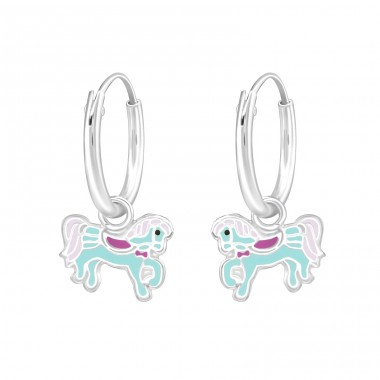 Hanging Pony - 925 Sterling Silver Children Hoops A4S36986