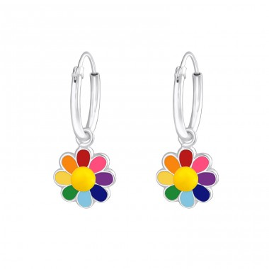 Flower - 925 Sterling Silver Children Hoops A4S36988